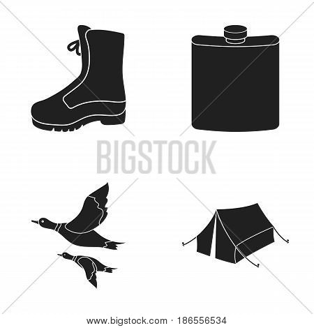 Flying ducks, flask, boots, tent..Hunting set collection icons in black style vector symbol stock illustration .
