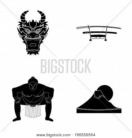 Dragon mask, katano, a man is a sumo player, a fujiama mountain.Japan set collection icons in black style vector symbol stock illustration .