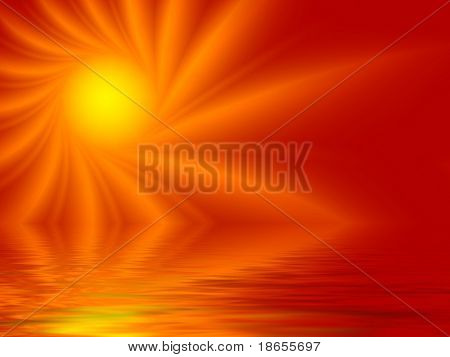 Fractal image of the abstract depiction of the sun reflected in water.