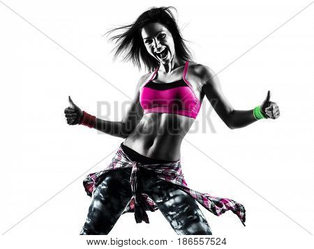 one caucasian woman fitness exercises dancer dancing isolated in silhouette on white background