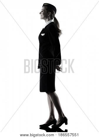 one caucasian Stewardess cabin crew  woman standing  isolated on white background in  silhouette