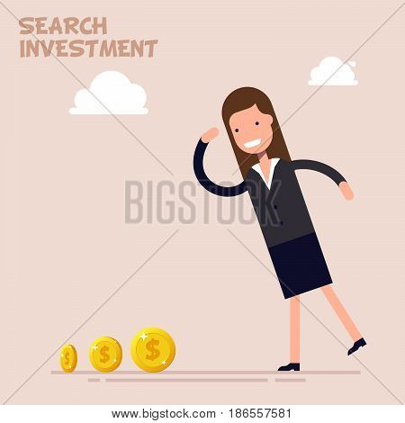 Businessman or manager search of money and investment in business. Vector illustration in a flat cartoon style
