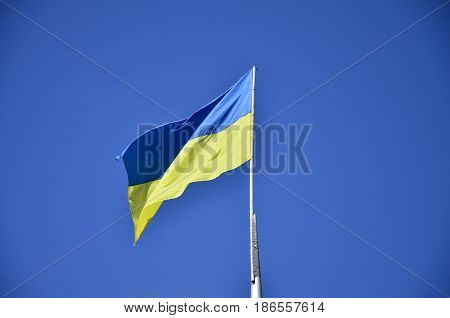 Ukrainian Flag Against The Blue Cloudless Sky. The Official Flag Of The Ukrainian State Includes Yel