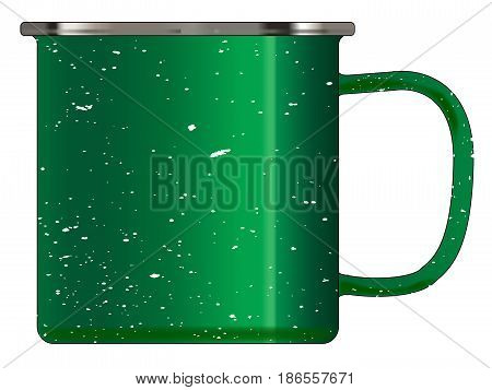 A typical green coloured tin cup with white mottle FX over a white background