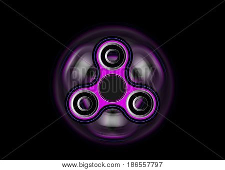 Fidget spinner icon - toy for stress relief and improvement of attention span. Filled with pink and black color. 3D Illustration Render
