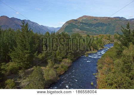River Truful-Truful running through forests  in the Araucania region of Chile, to the south Conguillio National Park.