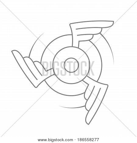 Aviation emblem, badge or logo. Military or civil aviation icon. Air force symbol. Rotating wings design. Vector stock illustration.