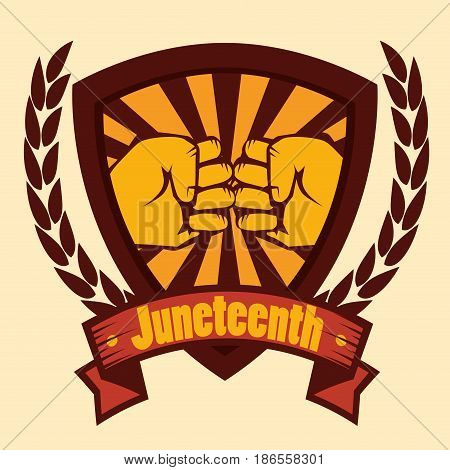 Hand drawns bumping fists shield with juneteenth sign and laurel wreaths over yellow background. Vector illustration.