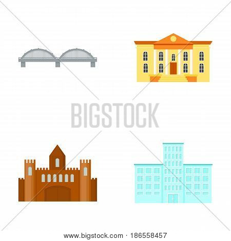 Museum, bridge, castle, hospital.Building set collection icons in cartoon style vector symbol stock illustration .