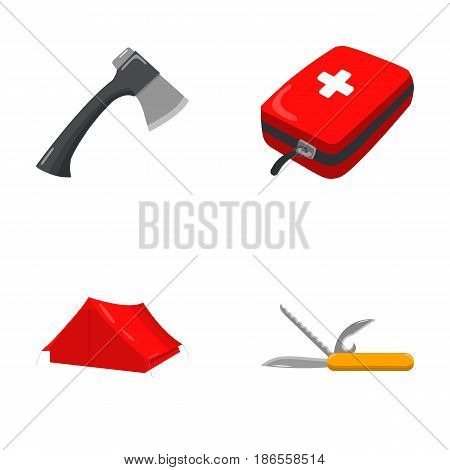 Ax, first-aid kit, tourist tent, folding knife. Camping set collection icons in cartoon style vector symbol stock illustration .