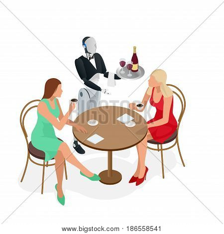 Two girls are sitting in a cafe. Robot waiter in tuxedo and gloves holding a wine and goblets tray and napkin. Isometric vector illustration.