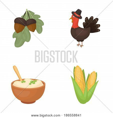 Acorns, corn.arthene puree, festive turkey, Canada thanksgiving day set collection icons in cartoon style vector symbol stock illustration .