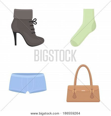 Women's boots, socks, shorts, ladies' bag. Clothing set collection icons in cartoon style vector symbol stock illustration .