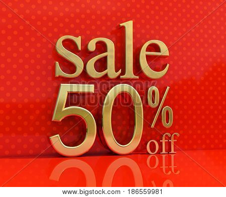 3d render: Gold 50% Sale on Red Background, Banner or Poster Discount Template