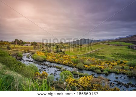 Beautiful rural Irish landscape in Kerry county, Ireland