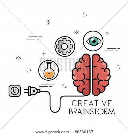 Creative brainstorm design with brain, plug, flask, gear wheels and eye over white background. Vector illustration.