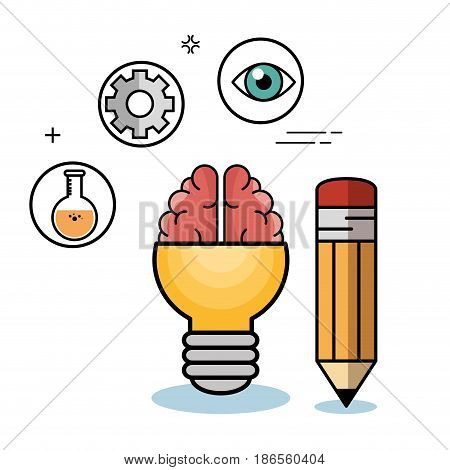 Yellow light bulb with brain, flask, gear wheel and pencil over white background. Vector illustration.