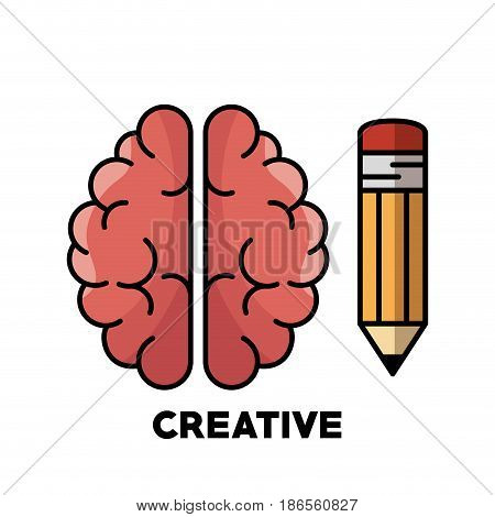 Brain and pencil over white background. Vector illustration.