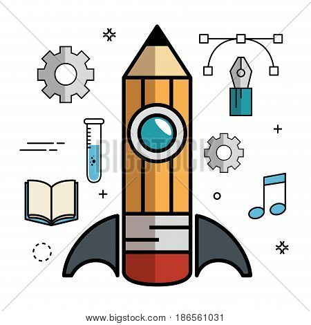 Pencil-shaped skyrocket with gearwheels, pen, lines, anchor points, beam notes and book over white background. Vector illustration.