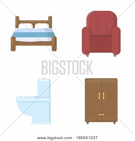 A bed, an armchair, a toilet, a wardrobe.FurnitureFurniture set collection icons in cartoon style vector symbol stock illustration .