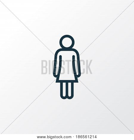Woman Outline Symbol. Premium Quality Isolated Female Element In Trendy Style.