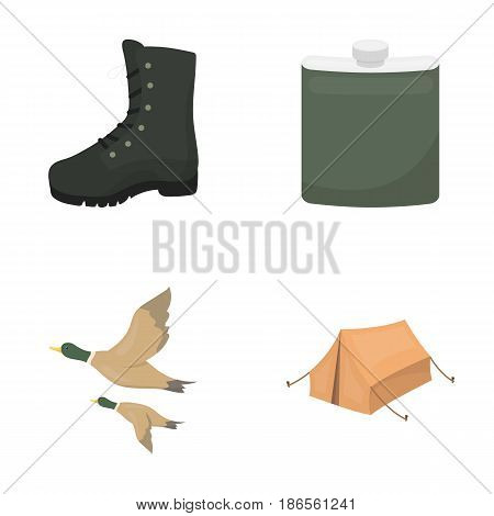 Flying ducks, flask, boots, tent..Hunting set collection icons in cartoon style vector symbol stock illustration .