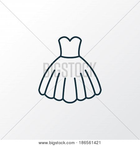 Evening Gown Outline Symbol. Premium Quality Isolated Dress Element In Trendy Style.