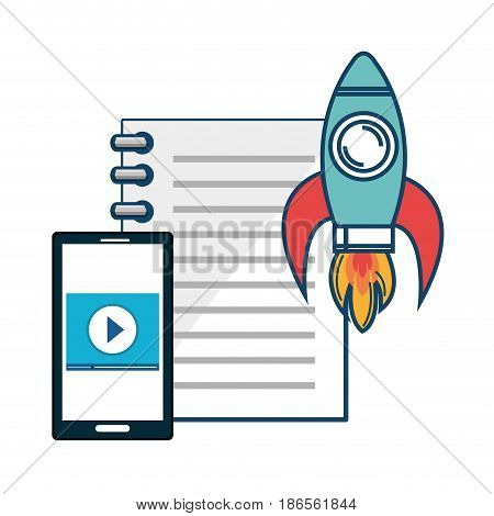 Notebook, smartphone and skyrocket over white background. Vector illustration