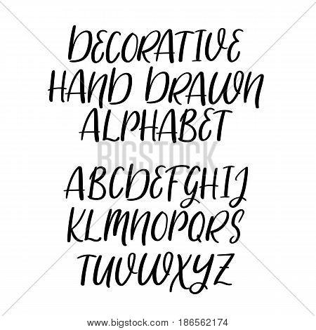 Decorative Hand Drawn Alphabet, Handwritten Vector Font. Brush Style Letters