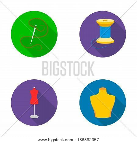 Needle and thread, female mannequin, male mannequin, thread reel.Atelier set collection icons in flat style vector symbol stock illustration .