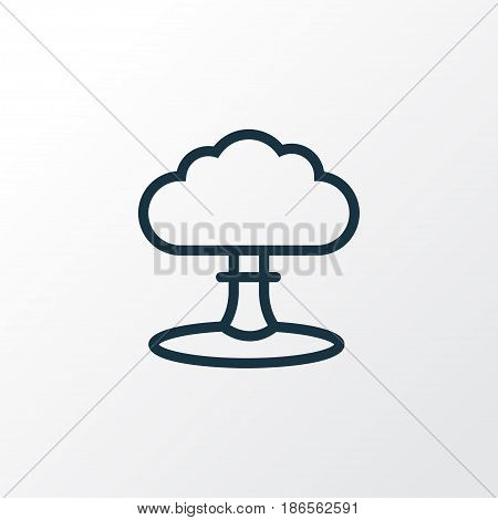 Nuclear Explosion Outline Symbol. Premium Quality Isolated Atomic Bomb Element In Trendy Style.