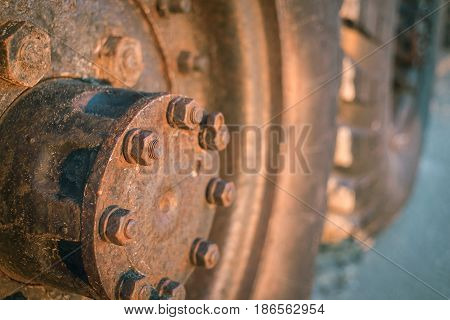 Rusty Wheel Of Vintage Soviet Army Truck