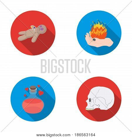 A voodoo doll, a magical fire, a love potion, a skull.Black and white magic set collection icons in flat style vector symbol stock illustration .