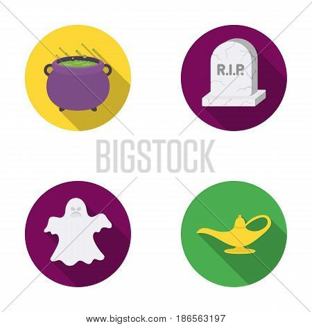A witch's cauldron, a tombstone, a ghost, a gin lamp.Black and white magic set collection icons in flat style vector symbol stock illustration .