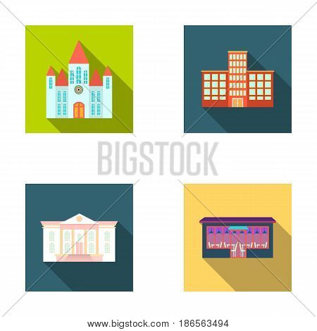 Church, hospital, cafe, museum.Building set collection icons in flat style vector symbol stock illustration .