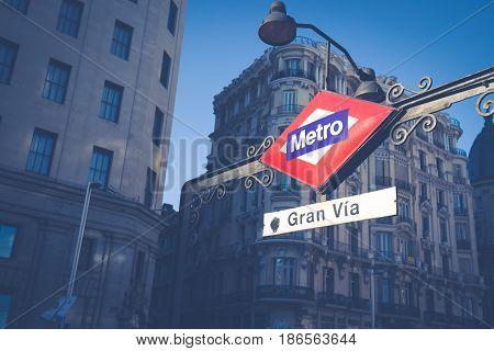 Metro Station Signal at Gran Via Madrid Spain