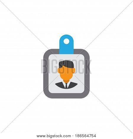 Identification Flat Icon Symbol. Premium Quality Isolated Id Badge Element In Trendy Style.