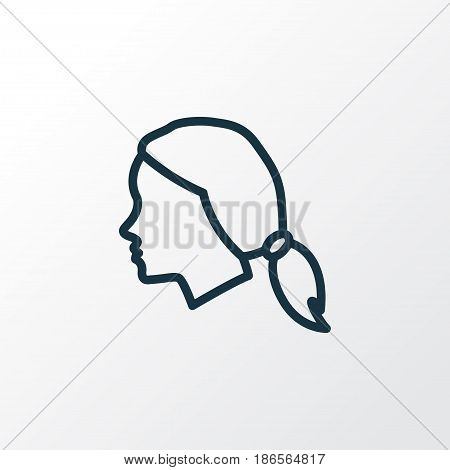Female Outline Symbol. Premium Quality Isolated Head Element In Trendy Style.