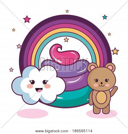 Kawaii bear and cloud with rainbow and colorful whipped cream over  white background. Vector illustration.