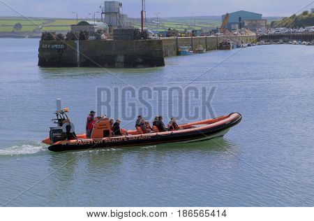 Padstow, Cornwall, April 6Th 2017: Padstow Sealife Safari Boat Returning To Harbour In Calm Water On