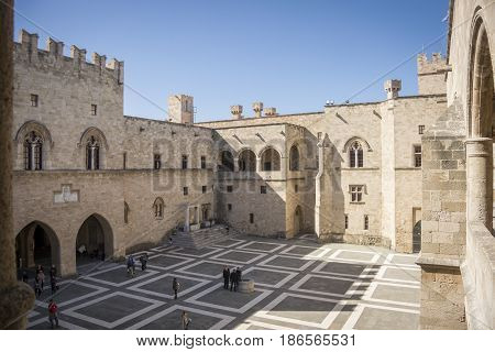 RHODES, GREECE, 17TH FEBRUARY 2017 - Courtyard in the Palace of the Grand Master of the Knights of Rhodes also known as the Kastello is a medieval castle in the city of Rhodes on the island of Rhodes in Greece