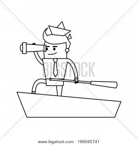 cartoon businessman with origami ship on head telescope and boat captain icon image vector illustration design  single black line