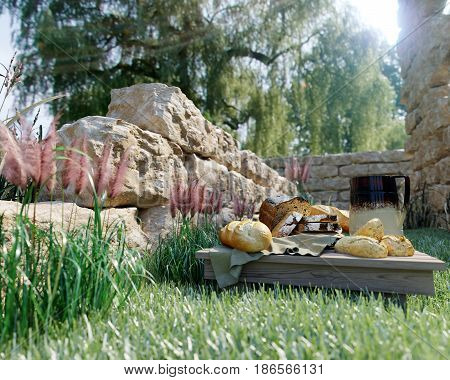 picnic stilllife on nature background with ancient ruins,bread and pitcher conceptual photo