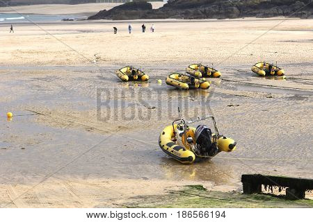 St Ives, Cornwall, Uk - 3Rd April 2017: Inflatable Dinghies Belonging To St Ives Self Drive Boat Hir