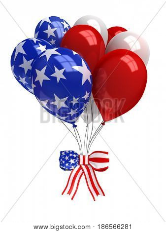 Red, white, and blue balloons isolated on white - 3d render