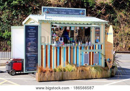 Padstow, Cornwall, Uk - 6Th April 2017: Mobile Refreshment Stall Belonging To Cornish Crepe Company