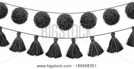 Vector Balck and White Tribal Pom Poms and Tassels Set On A String Horizontal Seamless Repeat Border Pattern. Great for handmade cards, invitations, wallpaper, packaging, home decor designs. Surface pattern design.
