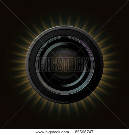 Vector modern camera icon with orange rays on dark background