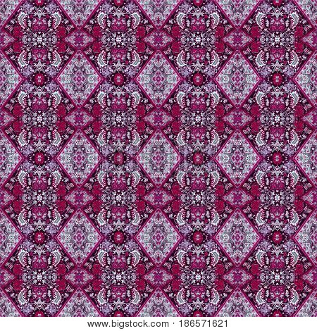 Beautiful Seamless Eastern Carpet Decoration Pattern, Abstract Ornament Of Round And Square Or Rhomb