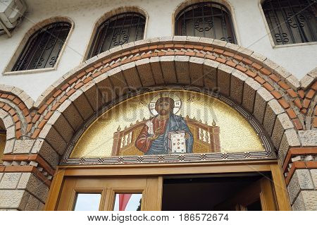 OHRID, MACEDONIA - MARCH 12, 2017: Portrail of Jesus CHrist upon an entrance to church of assumption of Maria the virgin